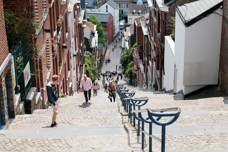 Montagne de Bueren, Liege, Belgium. The steep 374-step staircase has gained notoriety on the internet and is a symbol of the Belgian city.