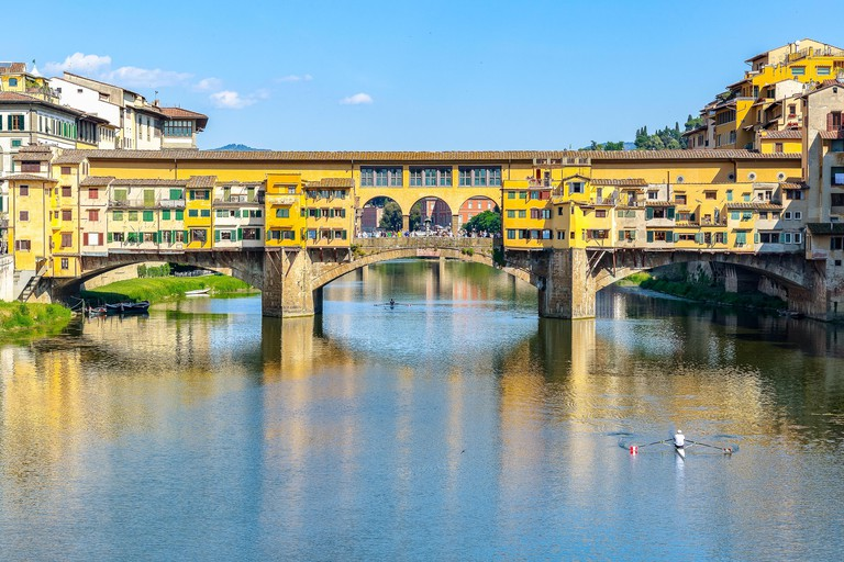 Houses built on the Ponte Vecchio (Old Bridge) over river Arno in Florence, Italy