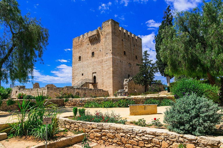 Impressive medieval Kolossi castle,view with gardens,Cyprus island.