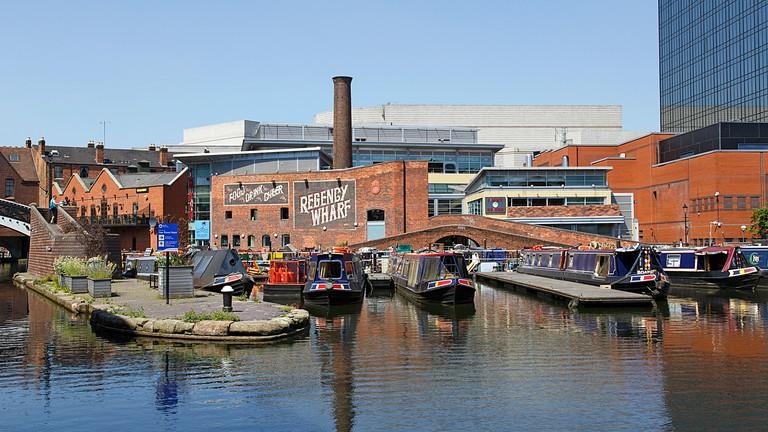 Birmingham, UK: June 29, 2018: Regency Wharf at Gas Street Basin. The restored canal system in Birmingham central is a national heritage landmark.
