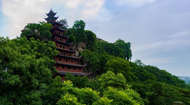 Shiobzhai - red pagoda on Fengdu Ghost Island, China