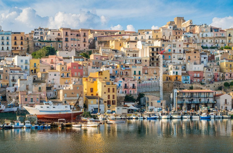 The colorful city of Sciacca overlooking its harbour. Provice of Agrigento, Sicily. P7XB14