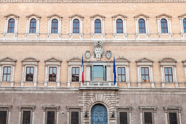 facade of Palazzo Farnese in Rome. The Palace is High Renaissance palaces in Rome, first designed in 1517 for Farnese family, now it is owned by the I