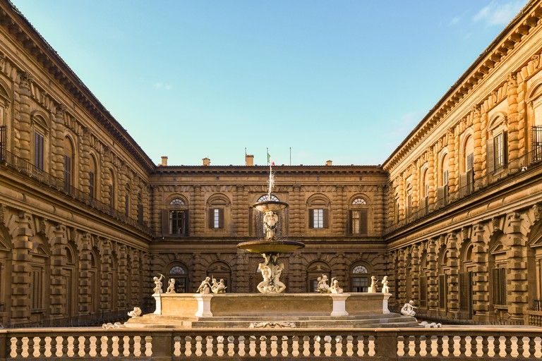 Palazzo Pitti from the Boboli Gardens with the Artichoke Fountain in the historic centre of Florence, Unesco World Heritage Site, Tuscany, Italy