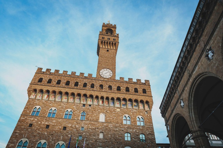 The Palazzo Vecchio, the town hall of Florence, located on the Piazza della Signoria (Signoria square) in the old town Florence, Italy