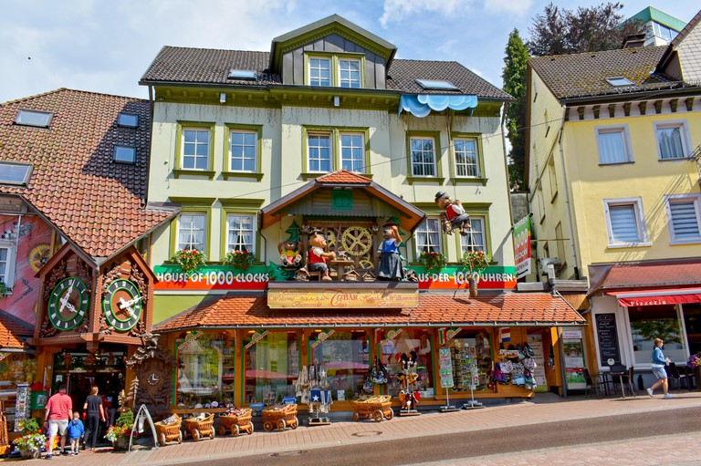 Triberg, Schwarzwald-Baar District, Germany - July 16, 2018: House of 1000 clocks, souvenir shop in the heart of Triberg.