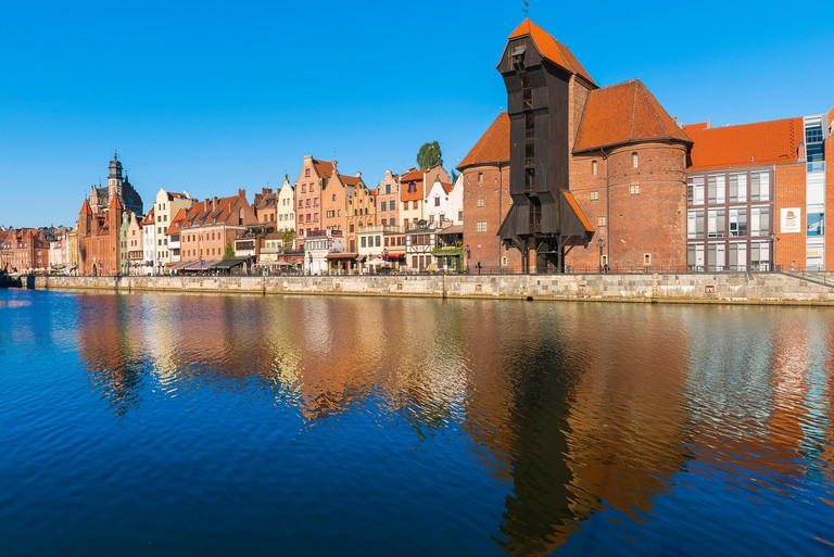 Gdansk port crane, view of the Zuraw - the largest medieval crane in Europe sited alongside the Motlawa River in the Old Town area of Gdansk, Poland.