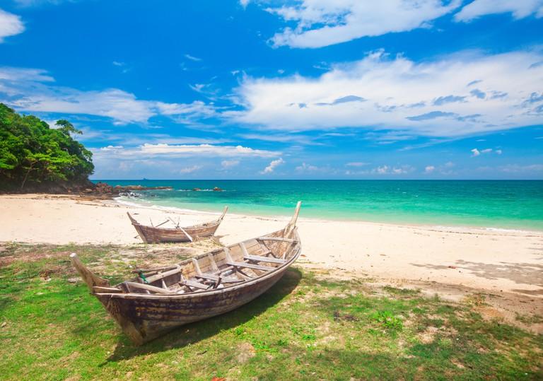 beach and fishing boat, koh Lanta, Thailand. Image shot 10/2017. Exact date unknown.
