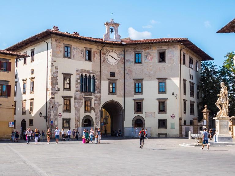 Beautiful Cavalieri Square in Pisa called Piazza dei Cavalieri - PISA TUSCANY ITALY - SEPTEMBER 13, 2017