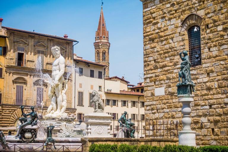 Piazza della Signoria, Palazzo Vecchio and Fountain of Neptune in Florence
