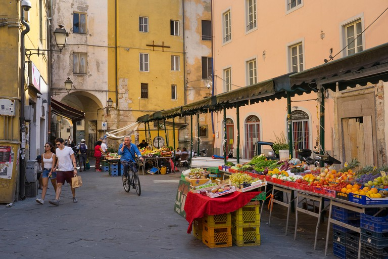fruit and vegetable market by piazza delle vettovaglie, Pisa,Tuscany,Italy,Europe
