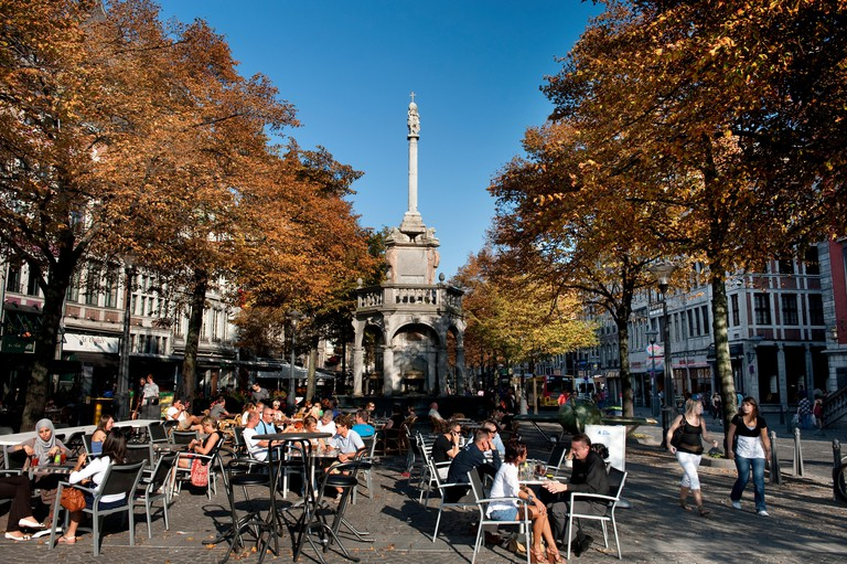 The Place du Marche square and historical Le Perron monument in Liege, once the symbol of justice in the Prince-Bishopric and now the symbol of the ci