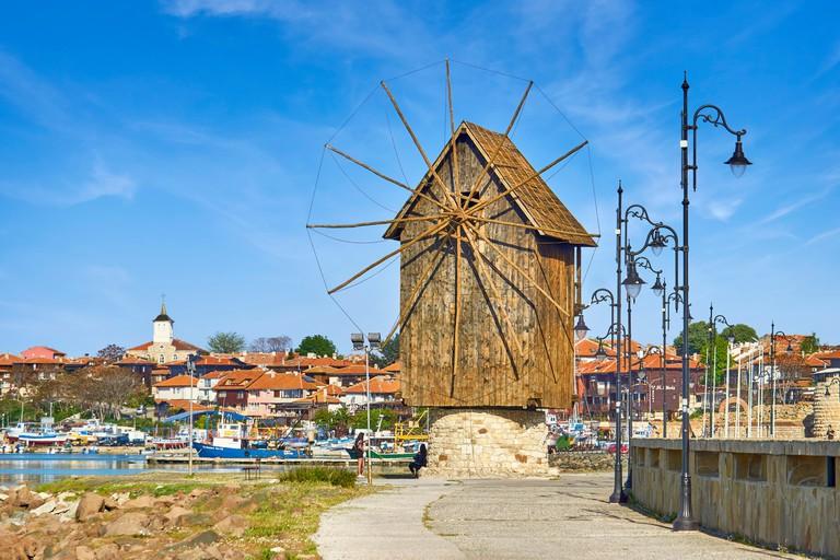 Wooden windmill, old town Nesebar, Bulgaria