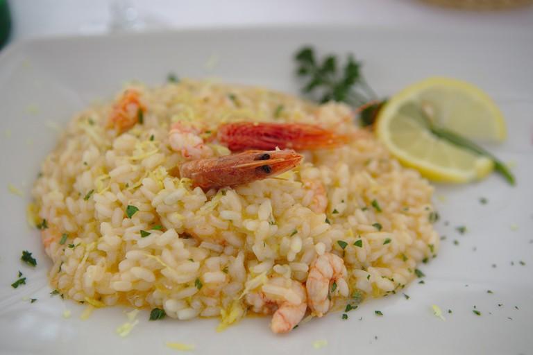 lemon shrimp risotto on a plate