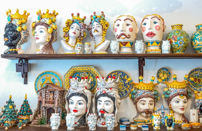 Caltagirone, Italy, Sicily island, exhibition of the  typical ceramics worhs in a shop of the old town