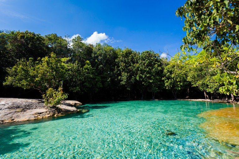 View on Emerald Pool in Krabi in southern Thailand. Landscape taken in beautiful Thung Teao forest national park in south east Asia.