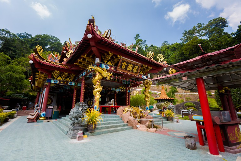 Beautiful architecture of Foo Lin Kong chinese temple on Pangkor island in Malaysia. Beautiful sacral building in south east Asia.