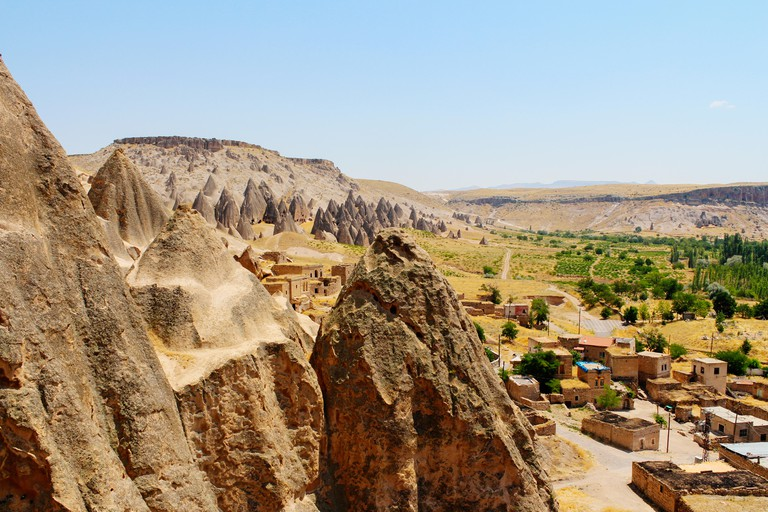 Selime cathedral monastery ancient ruins at Green tour in Cappadocia, Turkey