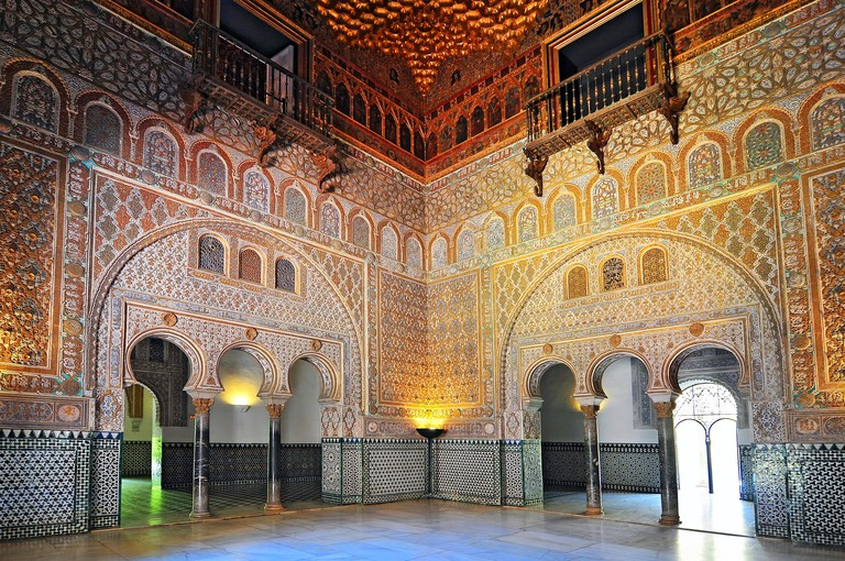 Hall Of Ambassadors Ornate Interior In The Royal Alcazar Of Seville, Andalusia, Spain