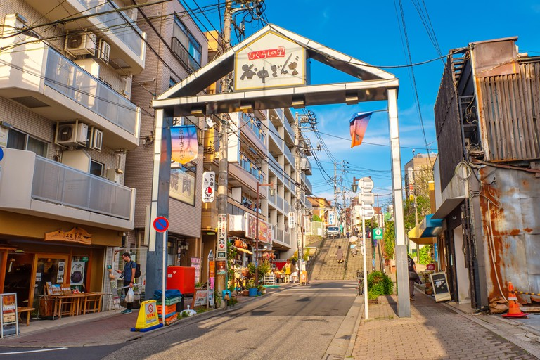 R6MKDA Tokyo, Japan - April 25 2018: Yanaka Ginza is one of the few districts in Tokyo where the shitamachi atmosphere, an old town ambience reminiscent of Tokyo from past decades