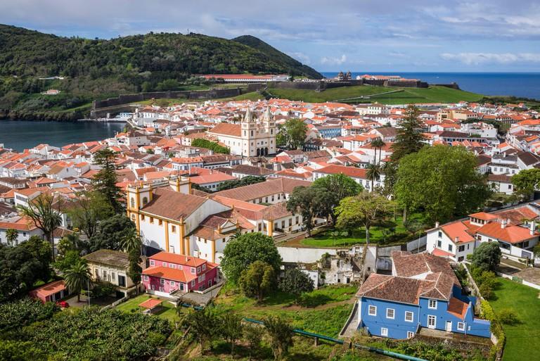 Portugal, Azores, Terceira Island, Angra do Heroismo, elevated view from Alto da Memoria park