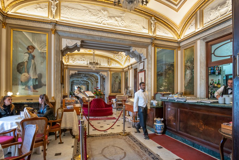 The Gran Caffe Gambrinus one of the oldest and most famous cafes in Naples. Corner of Piazza del Plebiscito and Piazza Trieste, Naples, Italy.