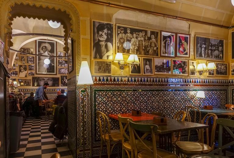 Spanish tapas bar, Giralda, interior restaurant, Cerveceria Giralda in Seville, Andalucia, Southern Spain.