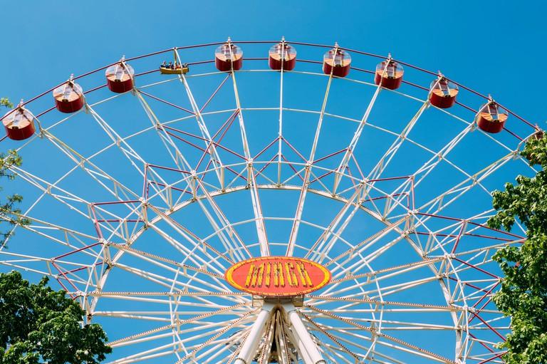 Minsk ferris wheel in central city park, Belarus. Ferris wheel in Gorky park.