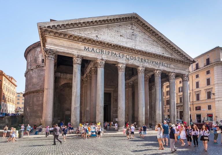 The Pantheon temple of Roman Gods and church exterior facade Piazza della Rotonda Roma Rome Lazio Italy EU Europe