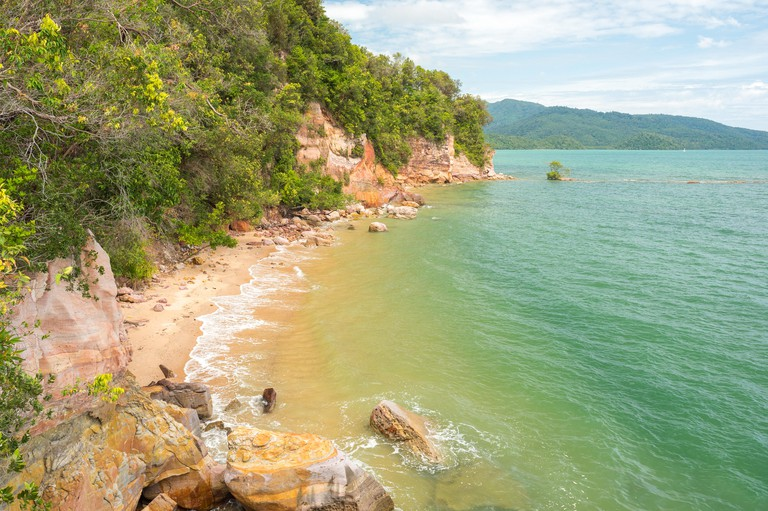 Secret Beach of Ao Thalane (Tha Lane), Krabi, Thailand. The Andaman Sea coast.