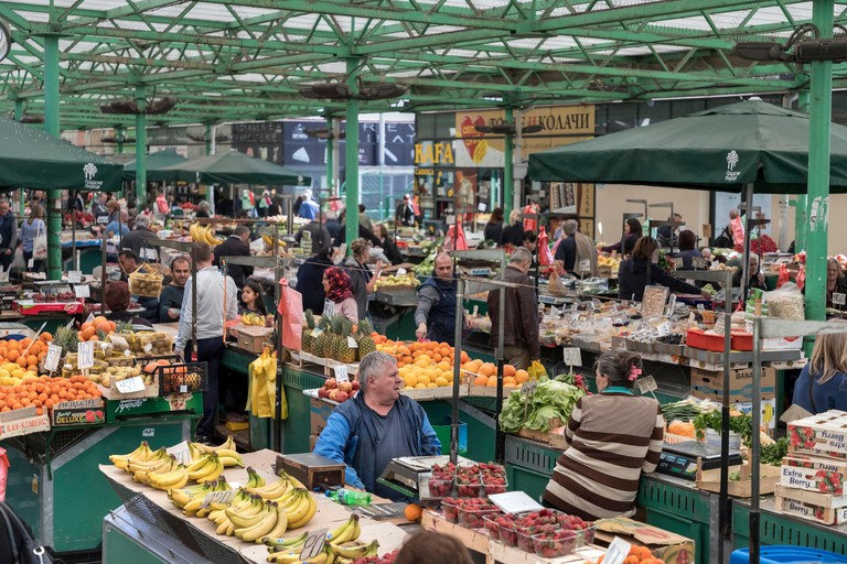 Belgrade, Serbia, March 2019 - Consumers and sellers at the green market named ZELENI VENAC (Green Wreath)