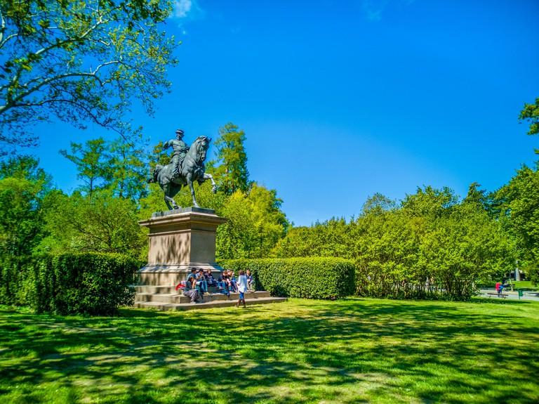 T5XP7K Giardini Margherita gardens in Bologna Victor Emmanuel II of Savoy statue
