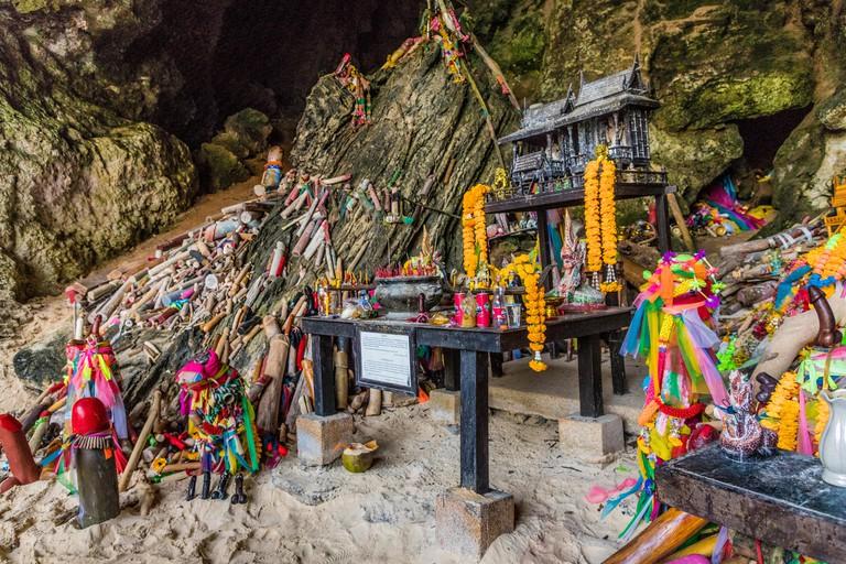 Phra Nang Princess Cave, a shrine to fertility, on Railay in Ao Nang, Krabi Province, Thailand, Southeast Asia, Asia