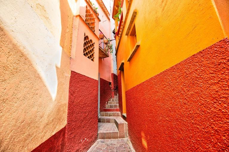 Romantic narrow Alley of the Kiss (Callejon del Beso) in Guanajuato colorful historic city center