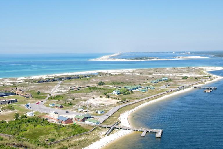 An Aerial View of Ft Pickens along Pensacola Beach, Florida USA
