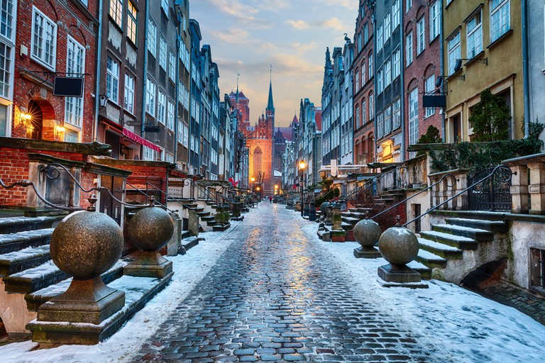 Mariacka Street of Gdansk, night winter view in Poland.