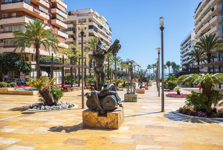 COSTA DEL SOL, SPAIN - CIRCA MAI, 2019: Salvador Dali sculptures on the Avenida del Mar of Marbella. The Costa del Sol in Andalusia, Spain