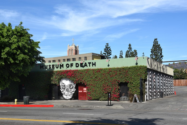 LOS ANGELES - NOVEMBER 24, 2017: Museum of Death. Established in 1995 by J. D. Healy and Catherine Shultz, the museum displays a wide variety of art a. Image shot 11/2017. Exact date unknown.