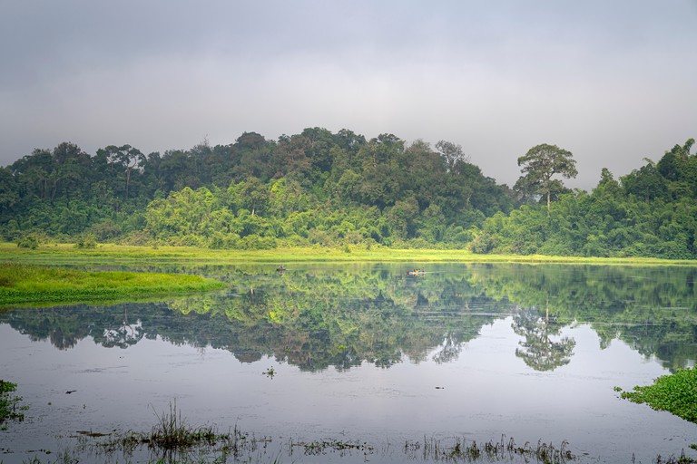 """View on crocodile lake in the jungle of Nam Cat Tien national park in Vietnam. This lake is called """"Bau Sau"""""""