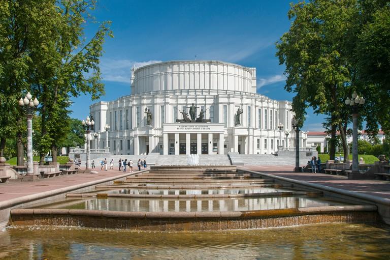 The Bolshoi theatre of Belarus in Minsk, Belarus.