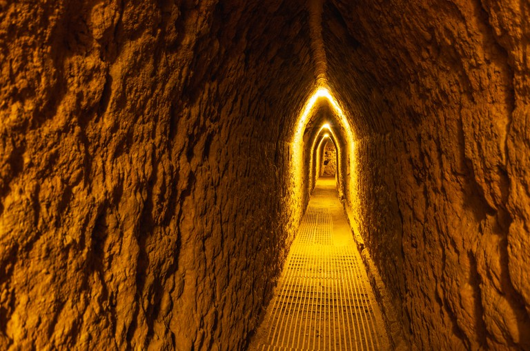 WHY9ET Ancient tunnel under The Great Pyramid of Cholula, Puebla, Mexico.