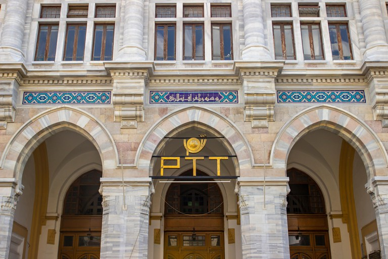 Istanbul, TURKEY - July 17, 2019 : PTT, with history of over 170 years is one of Turkey's oldest state institutions. PTT MUSEUM  located at Sirkeci
