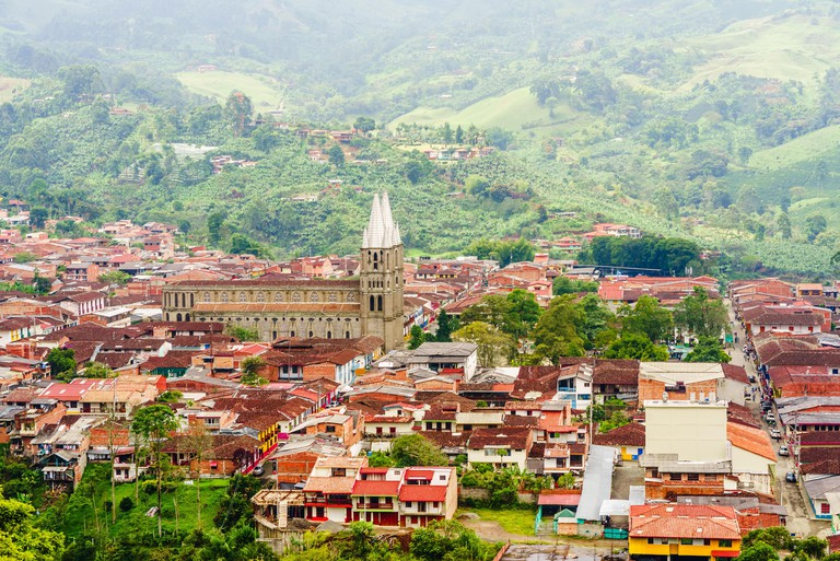 Aerial view over the colonial city of Jardin, Colombia