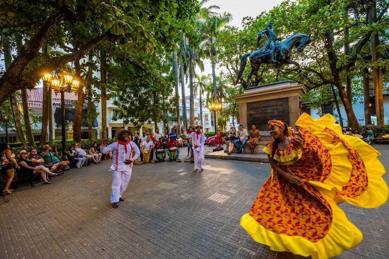 Colombia, Bolivar Department, Cartagena of the Indies, colonial center registered World Heritage bu UNESCO, Plaza Bolivar , criollo dances