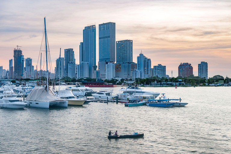 Dusk view of the modern Bocagrande skyline in Cartagena, Colombia.