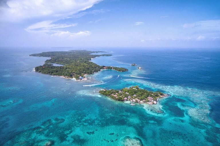 Rosario Islands (Islas del Rosario) in Cartagena de Indias, Colombia, aerial view.