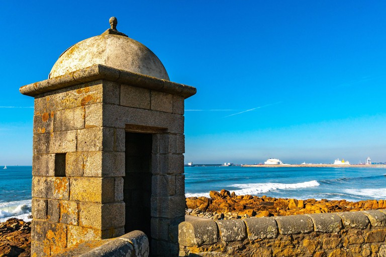 Porto Fort of Saint Francis Xavier Picturesque View with Watchtower on a Sunny Blue Sky Day