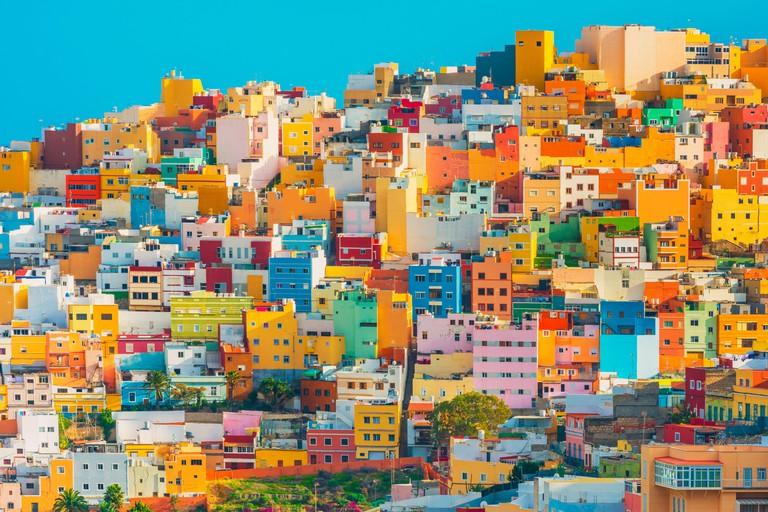 Colourful houses in Las Palmas Gran Canaria Spain