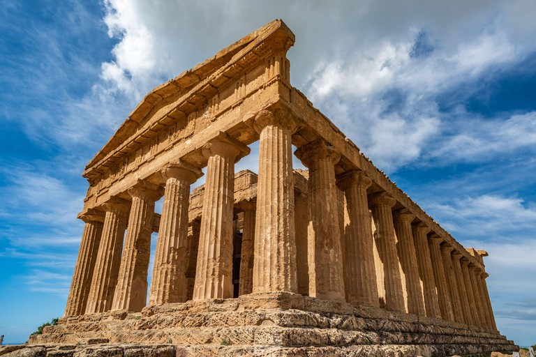 Temple of Concordia an ancient Greek Temple in the Valley of the Temples, Agrigento, Sicily, Italy. Image shot 07/2019. Exact date unknown.