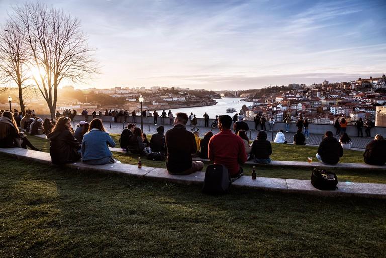 Panorama of Porto from Jardim do Morro gardens, Portugal